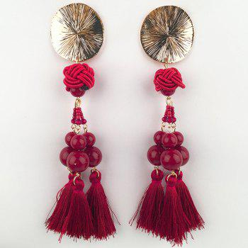Disc Knot Beaded Tassel Ethnic Drop Earrings - RED RED