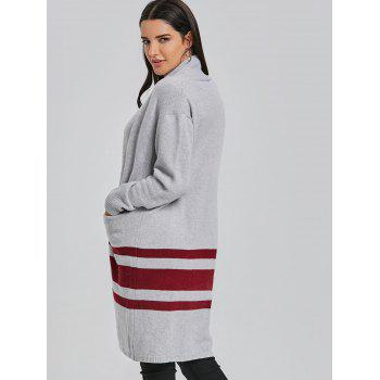 Stripe Open Front Cardigan - LIGHT GRAY ONE SIZE