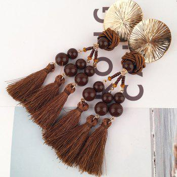 Disc Knot Beaded Tassel Ethnic Drop Earrings - COFFEE COFFEE