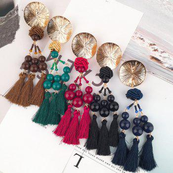 Disc Knot Beaded Tassel Ethnic Drop Earrings -  COFFEE