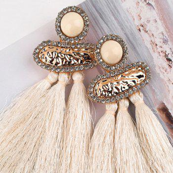 Geometric Hammered Metal Fringed Stud Drop Earrings - WHITE