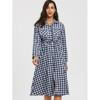 Plaid Long Sleeve Midi Shirt Dress - WHITE WHITE