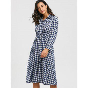 Plaid Long Sleeve Midi Shirt Dress - WHITE XL
