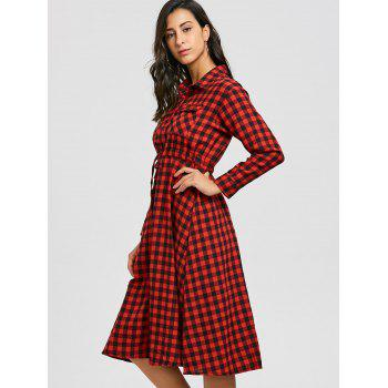 Plaid Long Sleeve Midi Shirt Dress - RED M