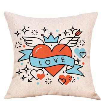 Hearts Wings Print Valentine's Day Linen Sofa Pillowcase - COLORMIX COLORMIX