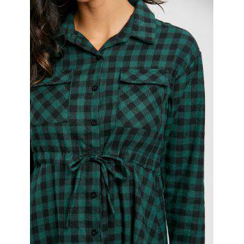 Plaid Long Sleeve Midi Shirt Dress - GREEN XL