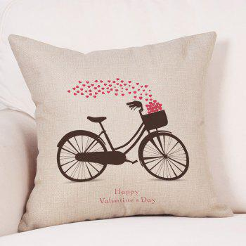 Bike Hearts Print Valentine's Day Linen Sofa Pillowcase - COLORMIX COLORMIX