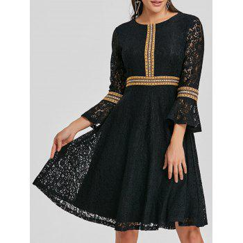Embroidered Bell Sleeve Lace A Line Dress - BLACK BLACK