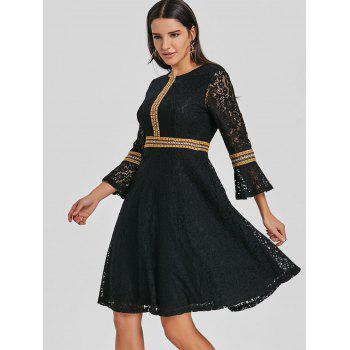 Embroidered Bell Sleeve Lace A Line Dress - BLACK M