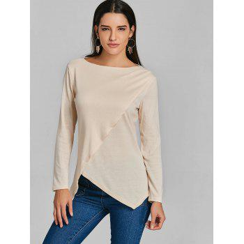 Asymmetrical Tunic Surplice T-shirt - APRICOT XL