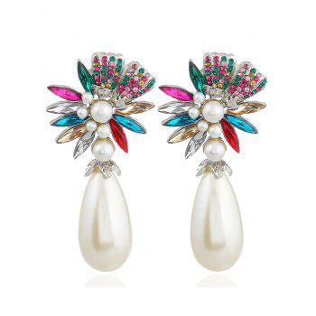 Pair of Floral Shape Rhinestone Artificial Pearl Earrings - COLORMIX COLORMIX