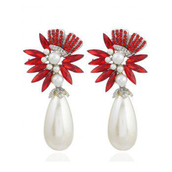 Pair of Floral Shape Rhinestone Artificial Pearl Earrings - RED RED