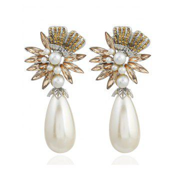 Pair of Floral Shape Rhinestone Artificial Pearl Earrings - YELLOW YELLOW