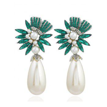 Pair of Floral Shape Rhinestone Artificial Pearl Earrings - GREEN GREEN