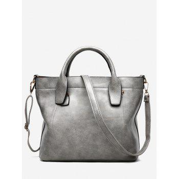 Faux Leather Double Handle Stitching Handbag - GRAY GRAY