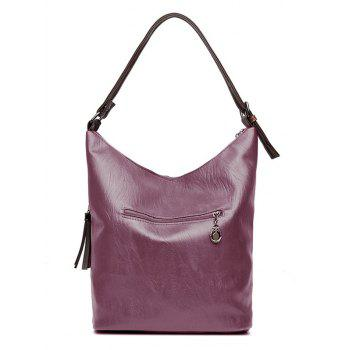 Faux Leather Tassels Shoulder Bag - PURPLE