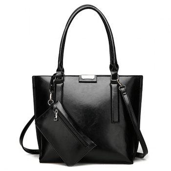 Faux Leather Shoulder Bag with Wristlet - BLACK BLACK