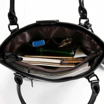 Faux Leather Shoulder Bag with Wristlet -  BLACK