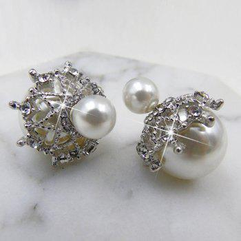 Unique Artificial Pearl Front Back Earrings - WHITE