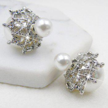 Unique Artificial Pearl Front Back Earrings - WHITE WHITE