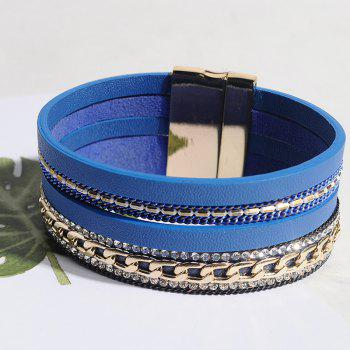 Rhinestoned Faux Leather Chain Multilayered Bracelet - BLUE