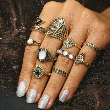 Artificial Gem Alloy Feather Finger Ring Set - GOLDEN GOLDEN
