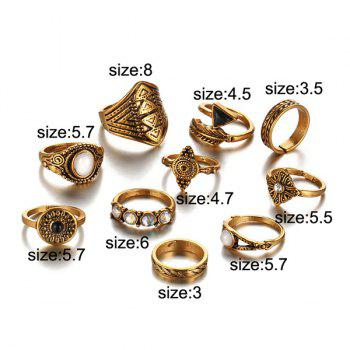 Artificial Gem Alloy Feather Finger Ring Set -  GOLDEN