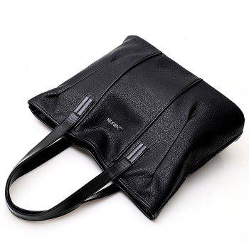 Faux Leather Shoulder Bag With Double Handle - BLACK
