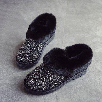 Fuzzy Collar Sequined Ankle Boots - BLACK 40