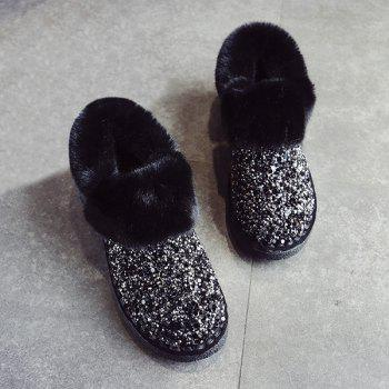 Fuzzy Collar Sequined Ankle Boots - BLACK 39