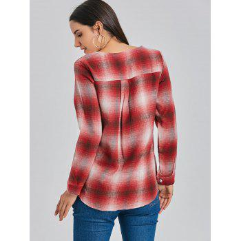 Lace Up Plunge Plaid Shirt - RED RED