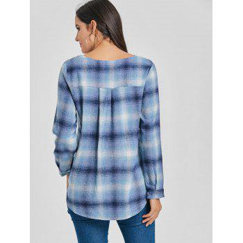 Lace Up Plunge Plaid Shirt - BLUE BLUE