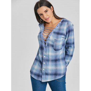 Lace Up Plunge Plaid Shirt - BLUE M