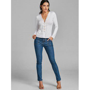Long Sleeve Lace Up Chain Top - WHITE S