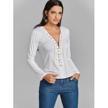 Long Sleeve Lace Up Chain Top - WHITE WHITE