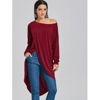 T-shirt long à encolure basse asymétrique - Rouge vineux M