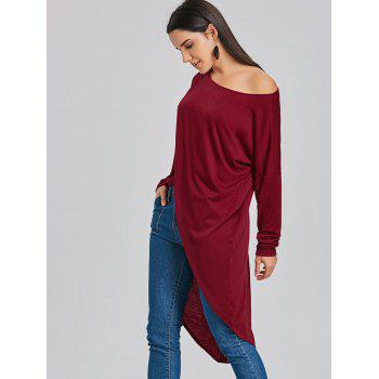 High Low Skew Neck Long T-shirt - WINE RED WINE RED
