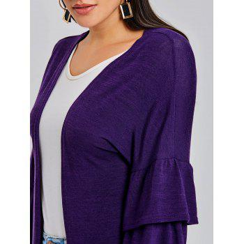 Open Front Bell Sleeve Tunic Cardigan - PURPLE S