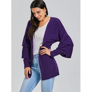 Open Front Bell Sleeve Tunic Cardigan - PURPLE M
