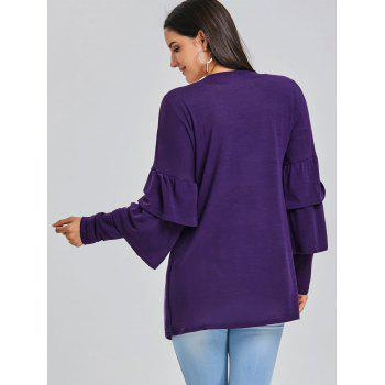 Open Front Bell Sleeve Tunic Cardigan - PURPLE PURPLE