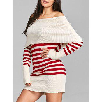 Longline Off The Shoulder Striped Sweater - RED RED