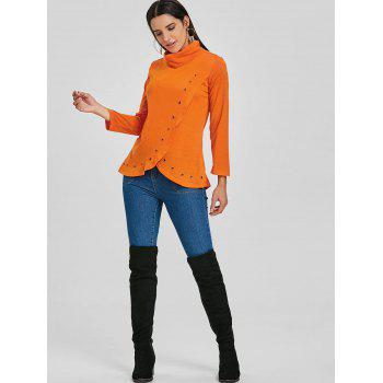 Asymmetrical High Neck Tunic T-shirt - ORANGE ORANGE