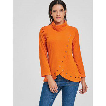 Asymmetrical High Neck Tunic T-shirt - ORANGE XL
