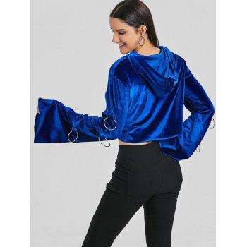 Velvet Metal Ring Cropped Hoodie - ROYAL BLUE ONE SIZE