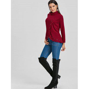 Asymmetrical High Neck Tunic T-shirt - WINE RED XL