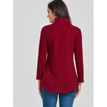 Asymmetrical High Neck Tunic T-shirt - WINE RED M