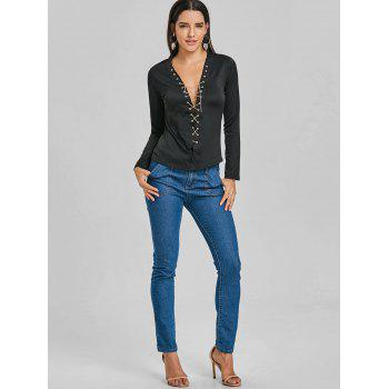Long Sleeve Lace Up Chain Top - BLACK S