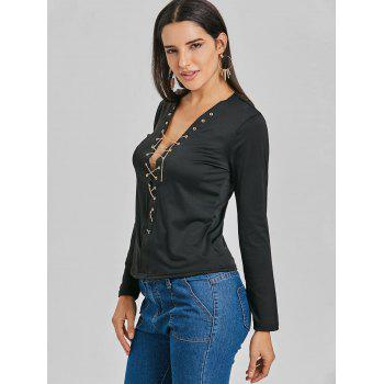 Long Sleeve Lace Up Chain Top - BLACK BLACK