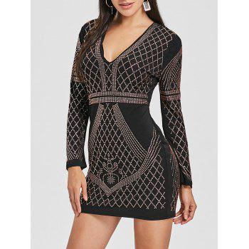 Mini Plunging Rhinestone Club Dress - BLACK BLACK