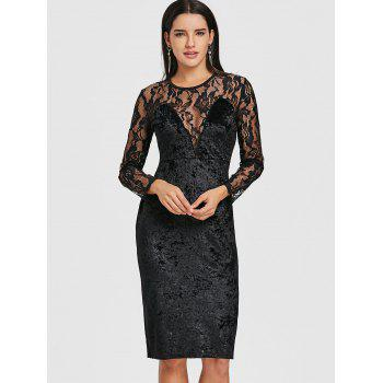 Lace Panel Velvet Pencil Dress - BLACK BLACK